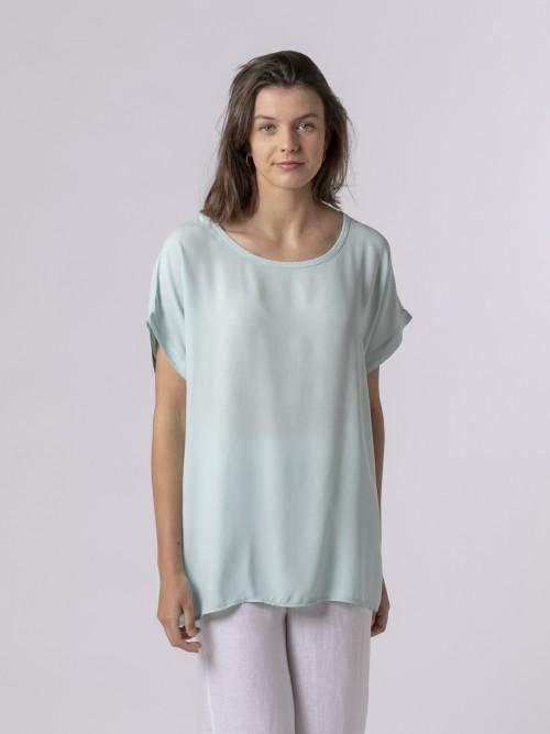 Woman Woman Short sleeve blouse Aqua