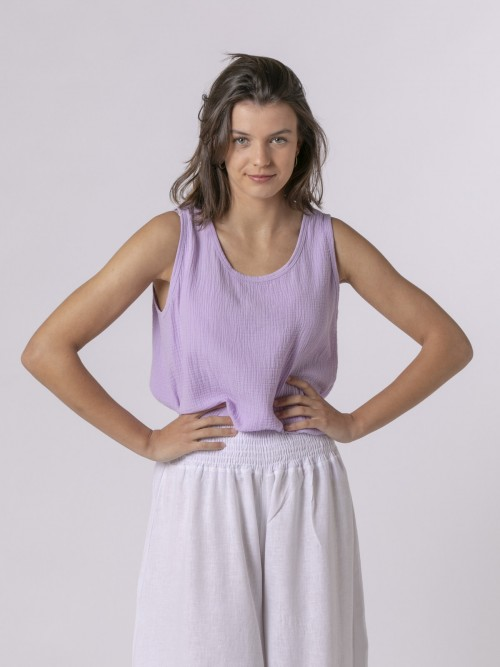 Woman Woman Crinkled cotton top Lila