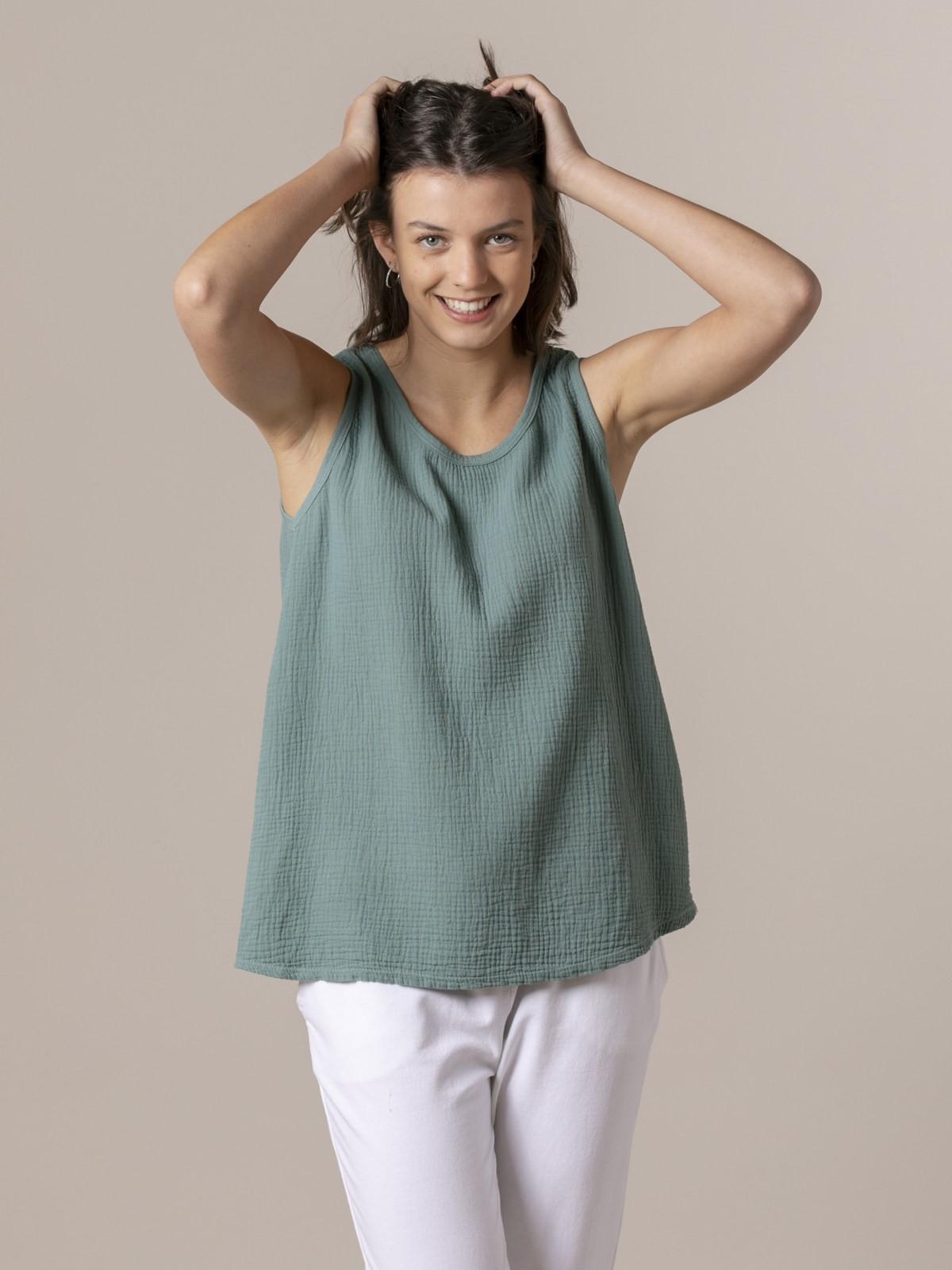 Top de algodón arrugado Verde