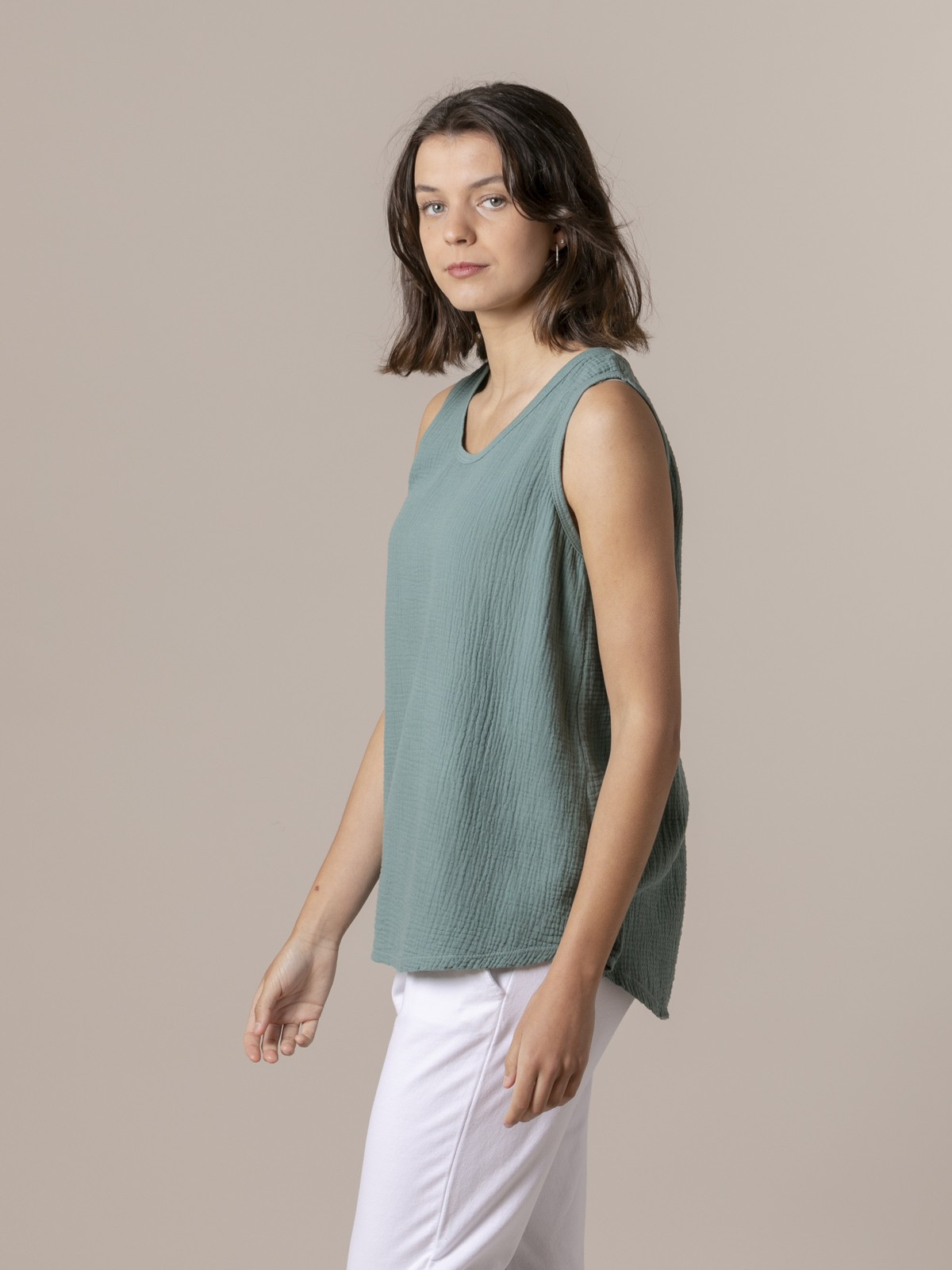 Woman Woman Crinkled cotton top Green