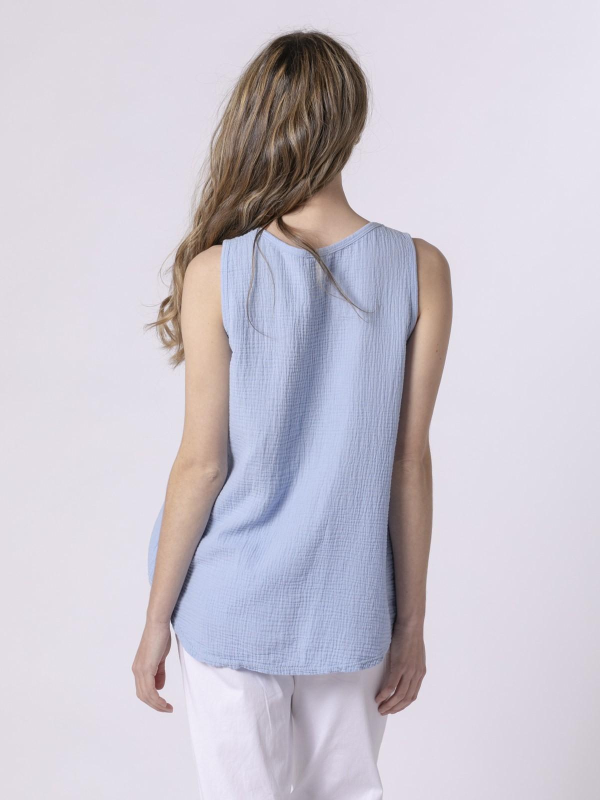 Top de algodón arrugado Azul Claro