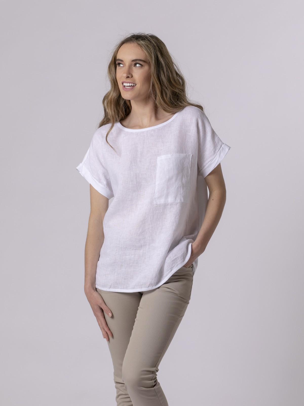 Camiseta mujer frontal de lino Blanco