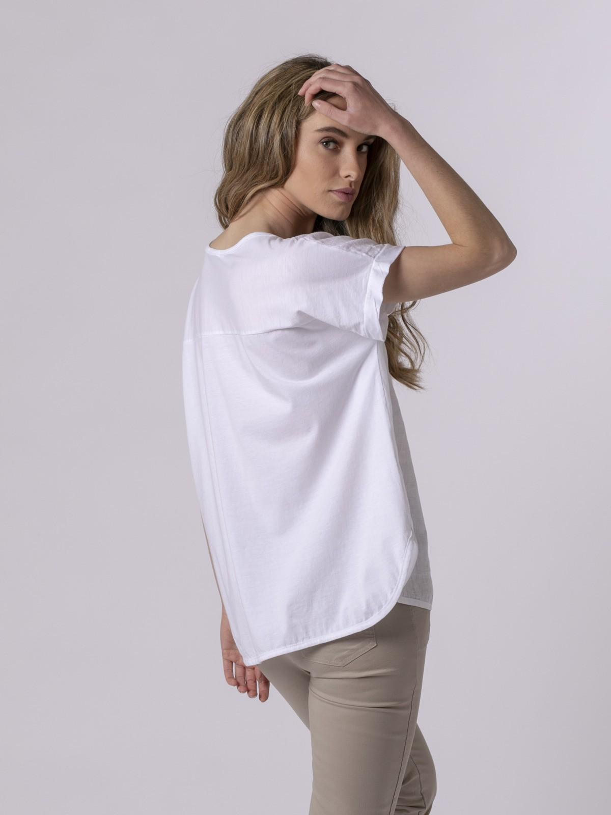 Woman Woman Linen front T-shirt White
