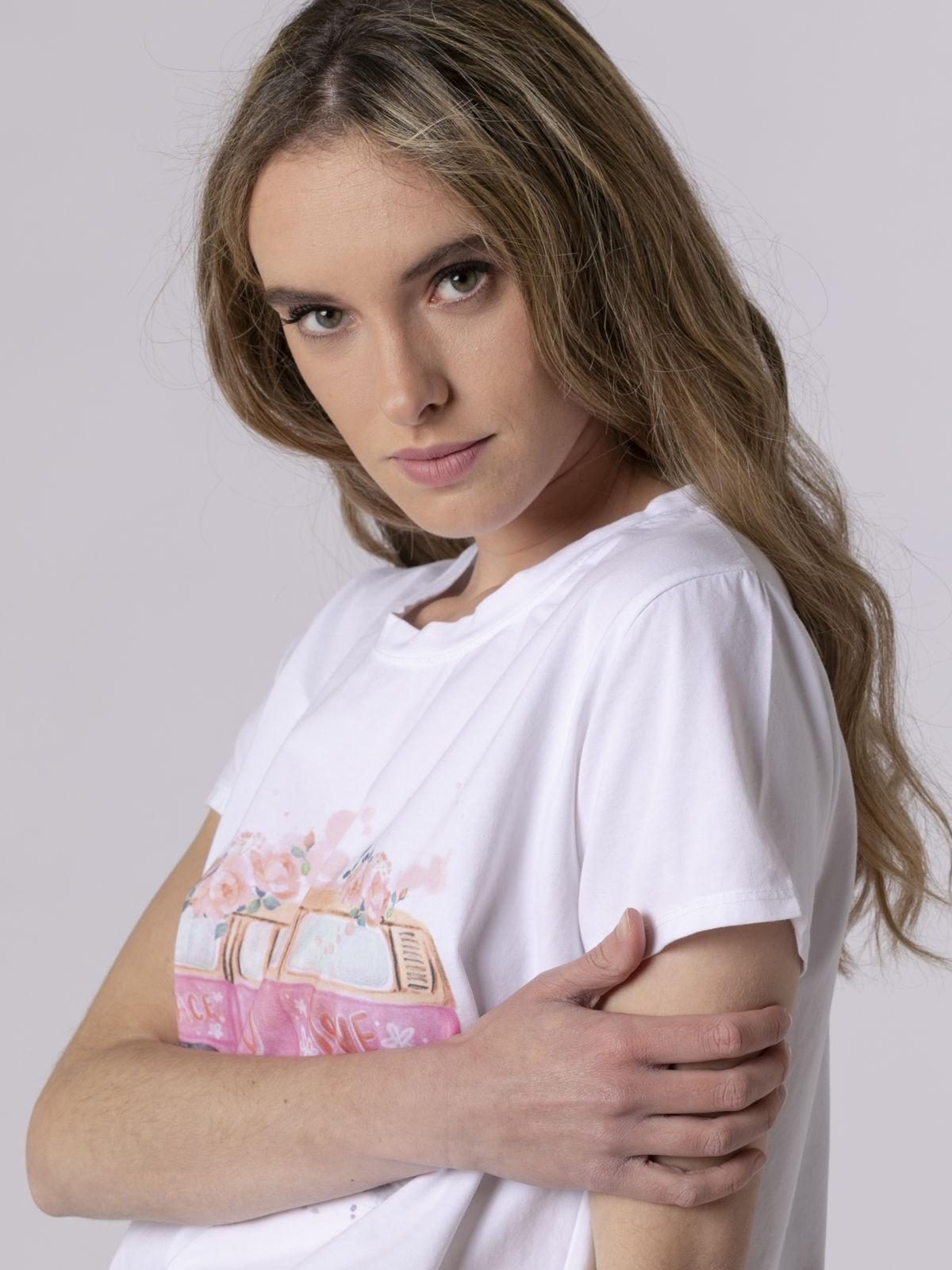 Camiseta mujer estampada digital Fucsia