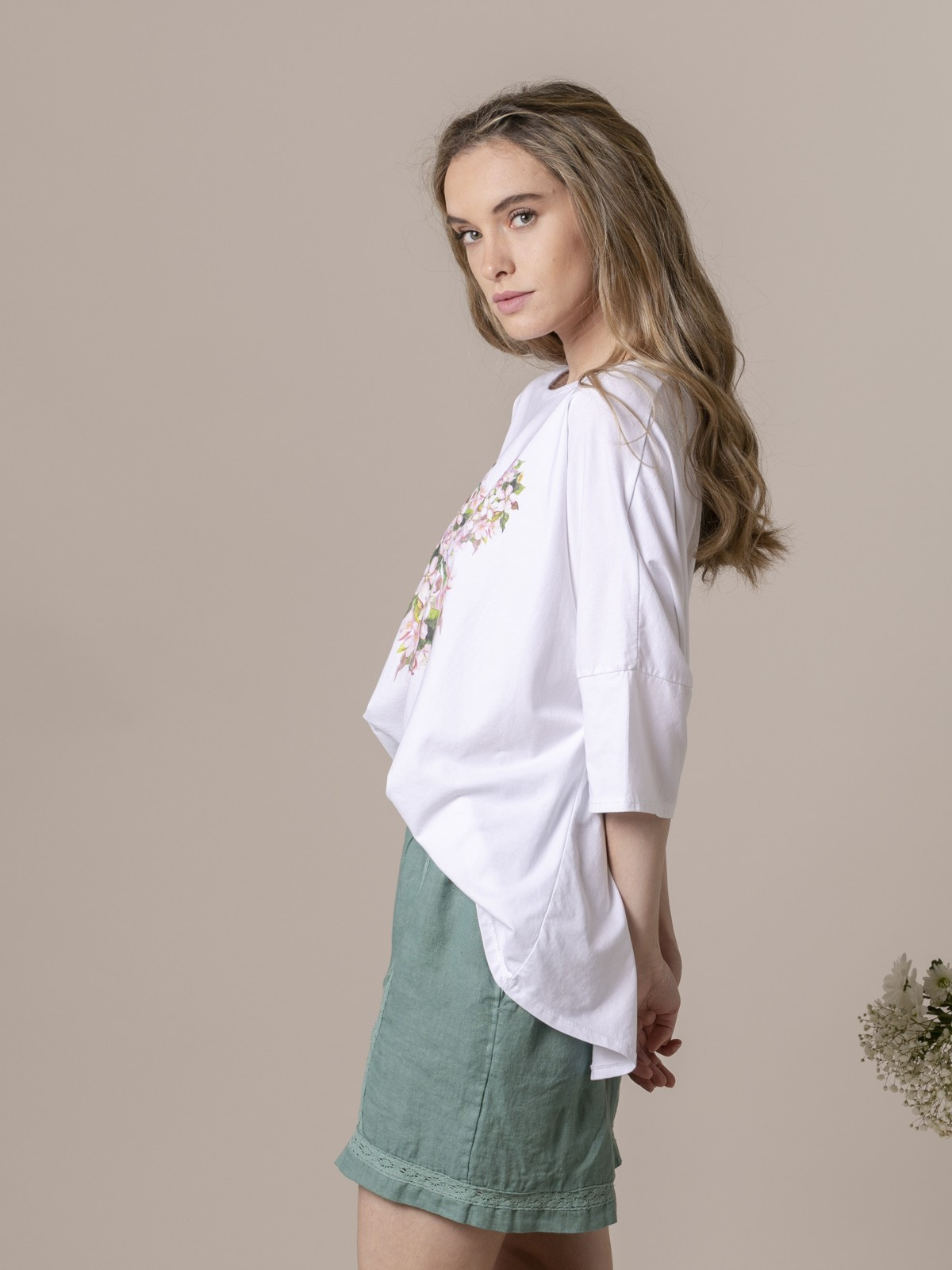 Camiseta oversize mujer estampada Rosa