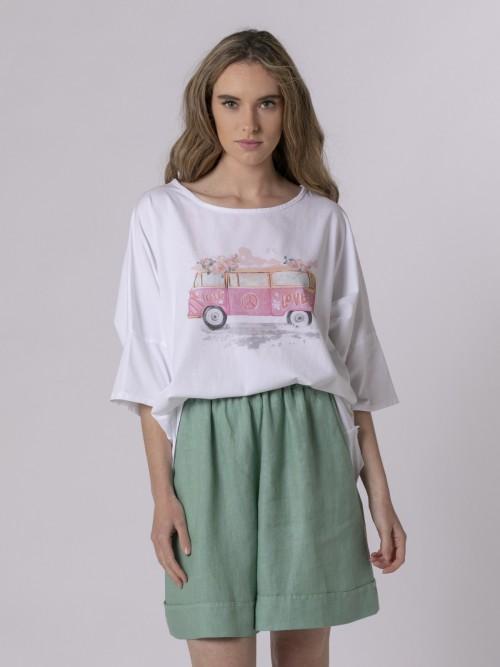 Camiseta oversize mujer estampada Fucsia