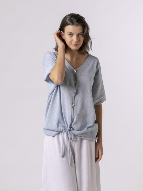 Woman Woman Cotton knit jacket Blue
