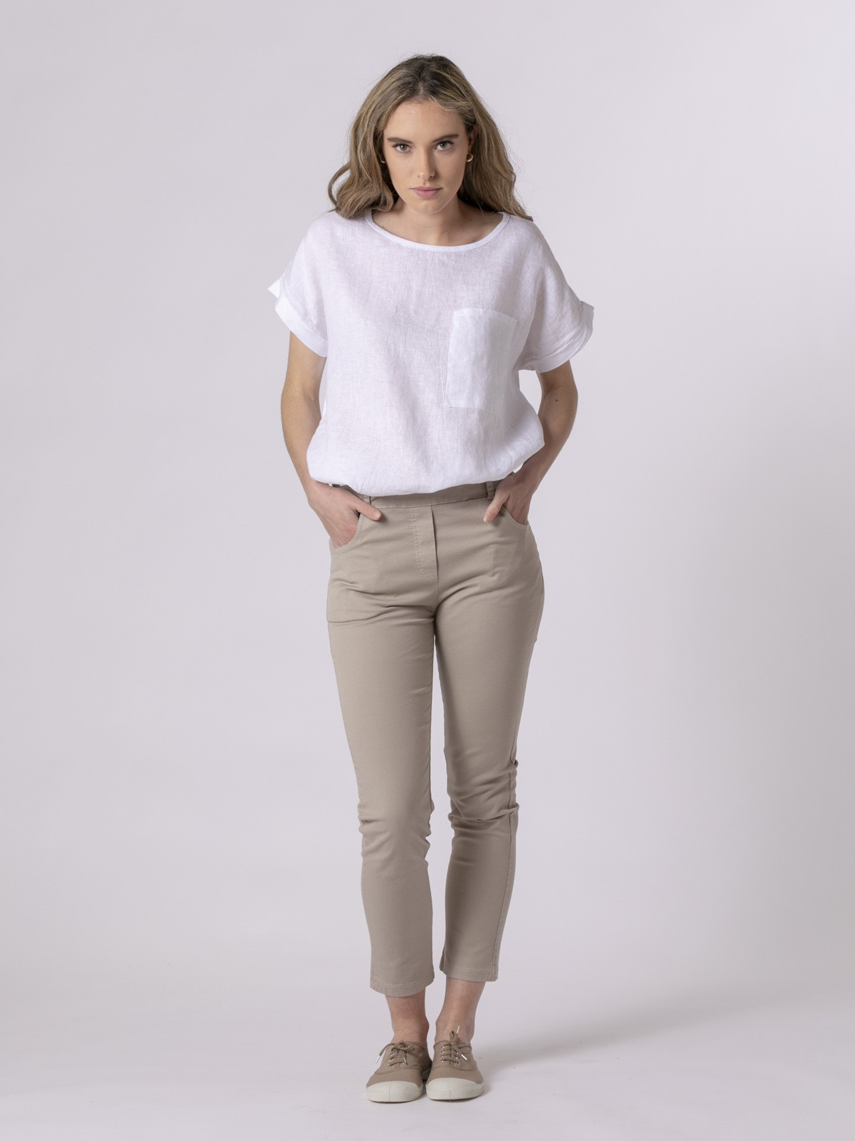 Pantalón mujer loneta confort Beige Claro