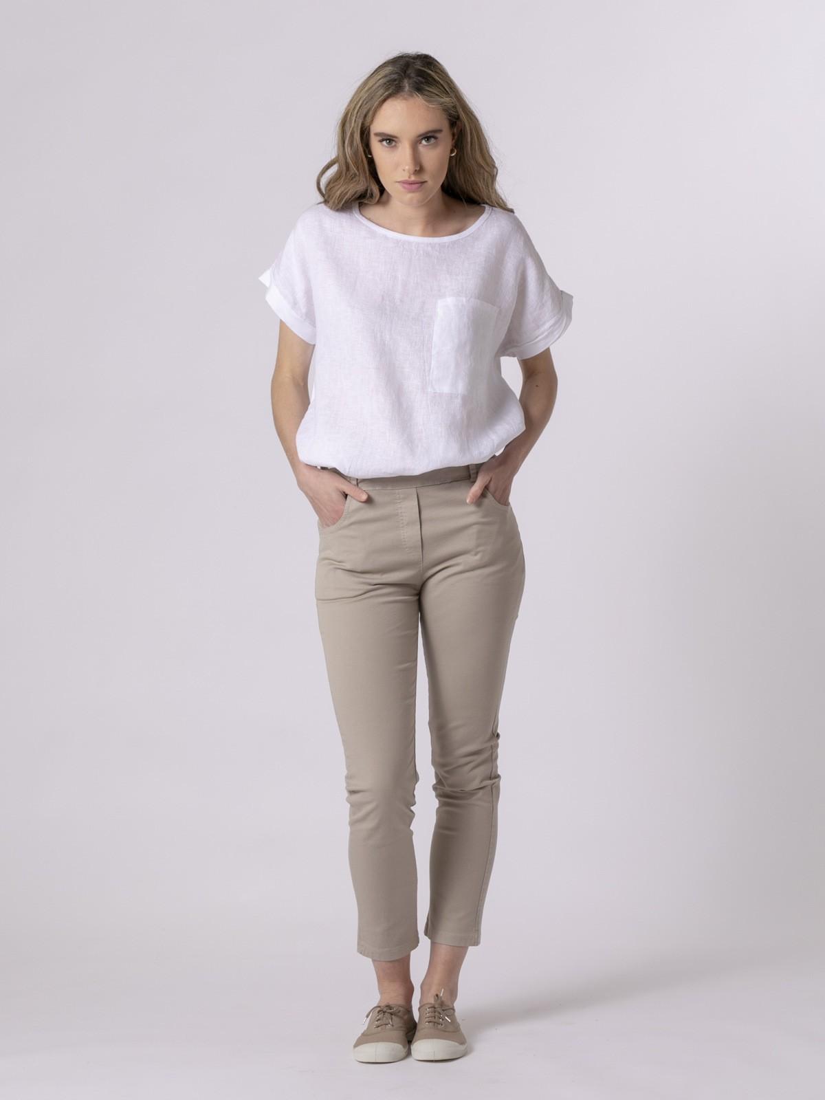 Woman Woman Comfort canvas trousers Beige Claro