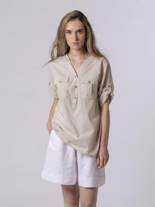 Woman Woman Buttoned blouse Beige