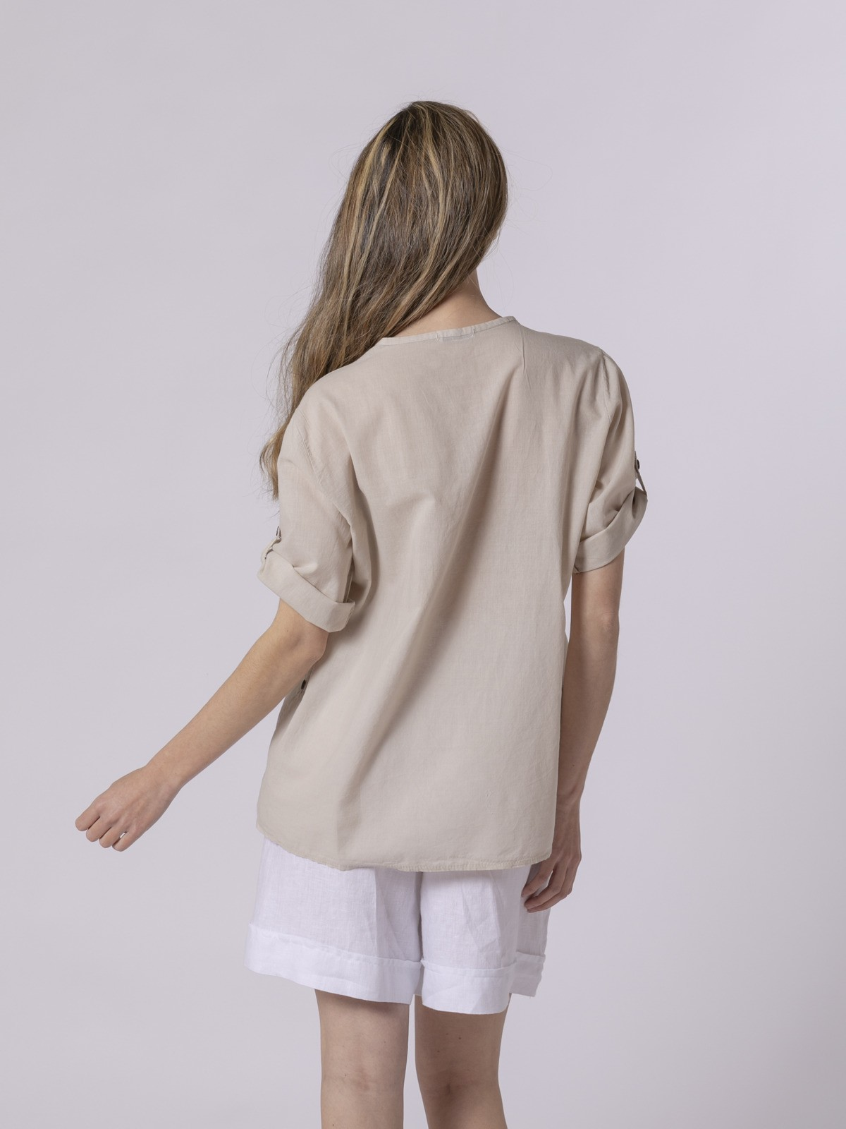 Blusa mujer botones Beige