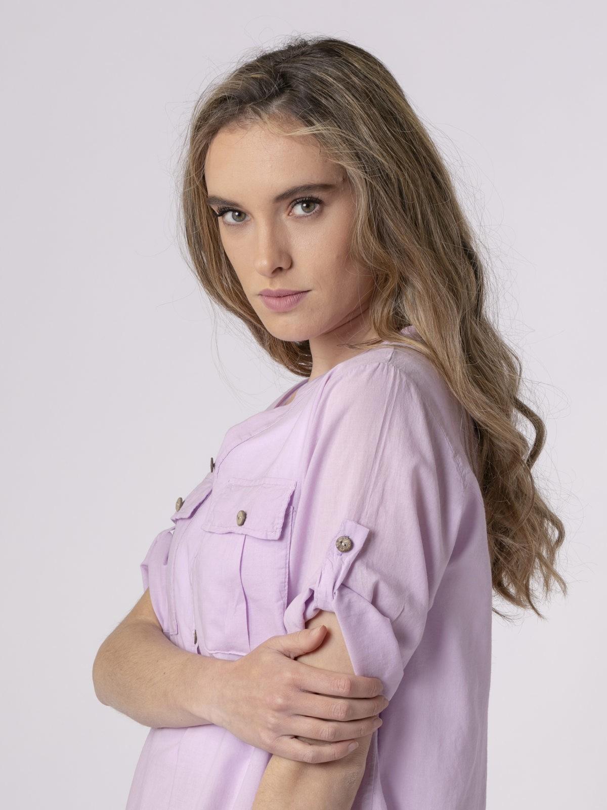 Blusa mujer botones Lila