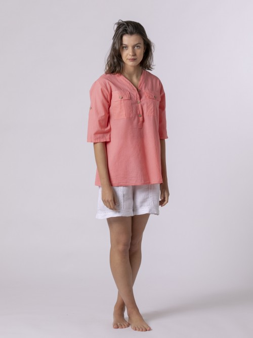 Woman Woman Buttoned blouse Salmón