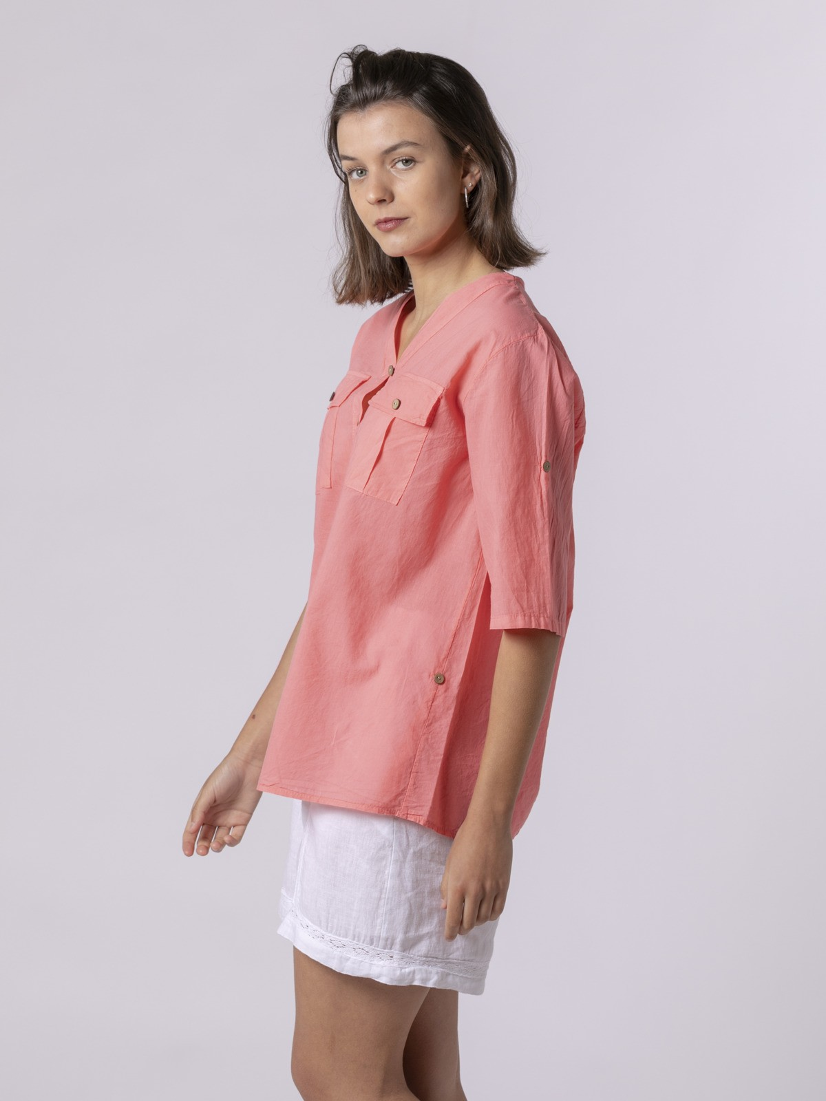 Woman Woman Buttoned blouse Salmón