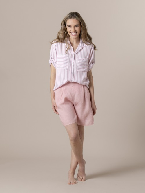 Woman Woman Striped blouse and pockets Pink