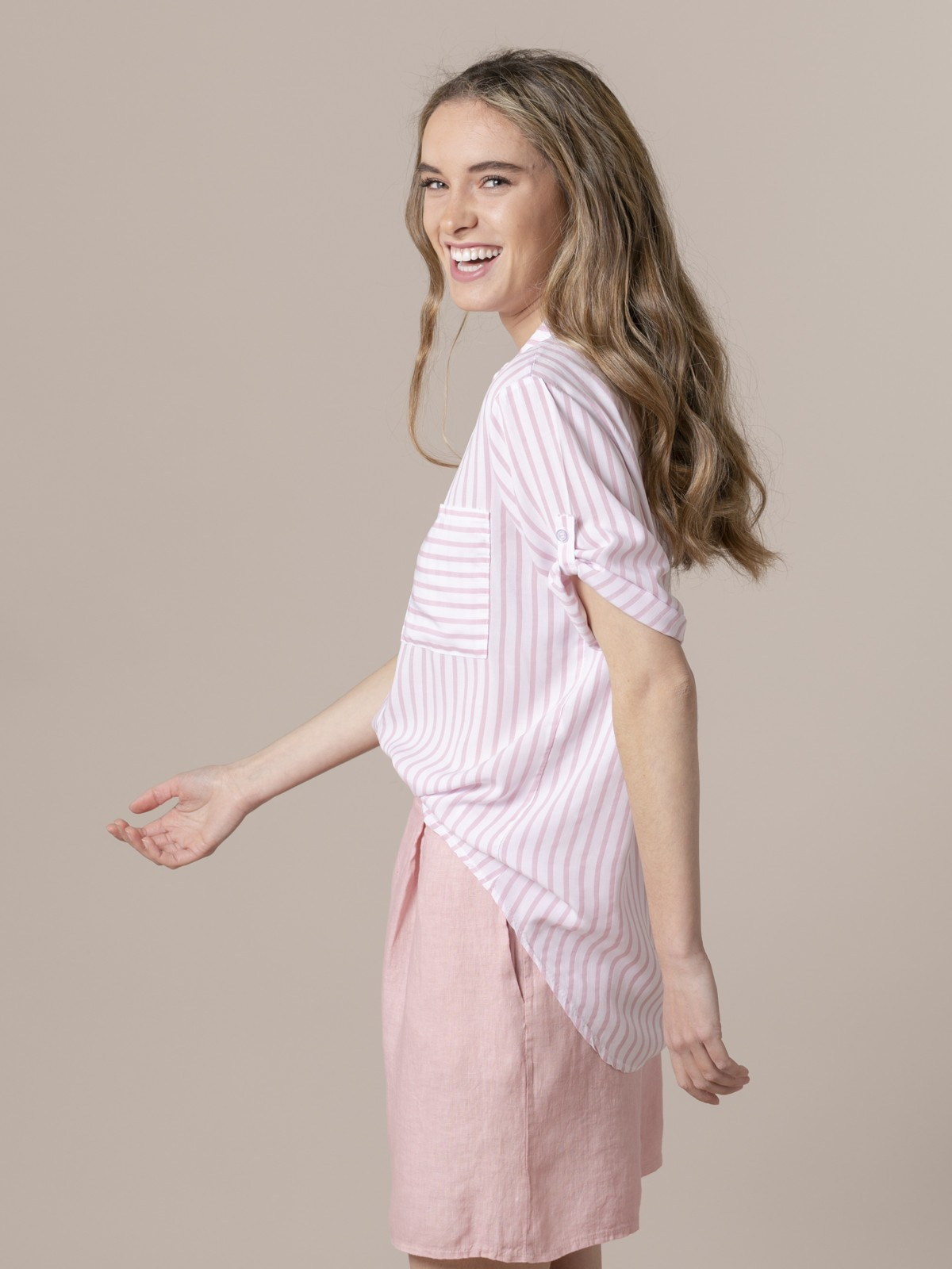 Blusa mujer rayas y bolsillos Rosa