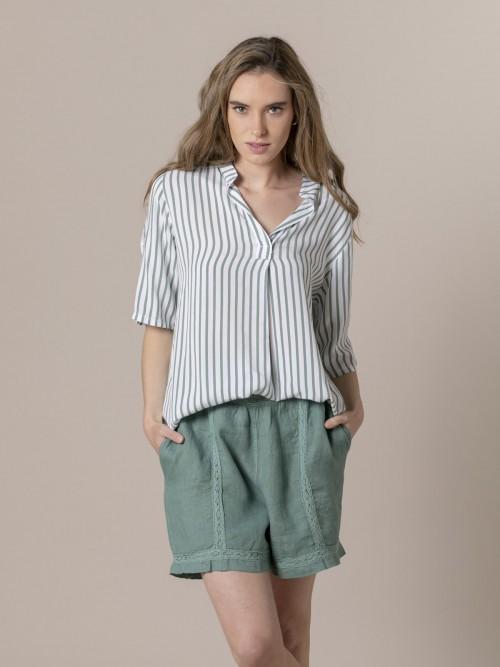 Woman Woman Striped blouse with mandarin collar Green