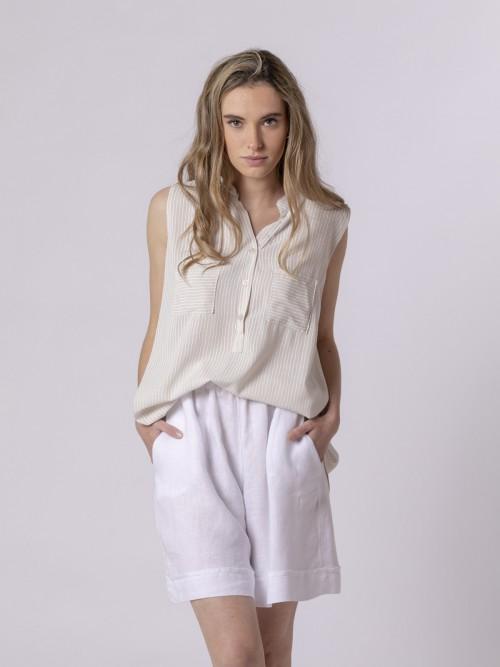 Woman Woman Striped sleeveless blouse Beige
