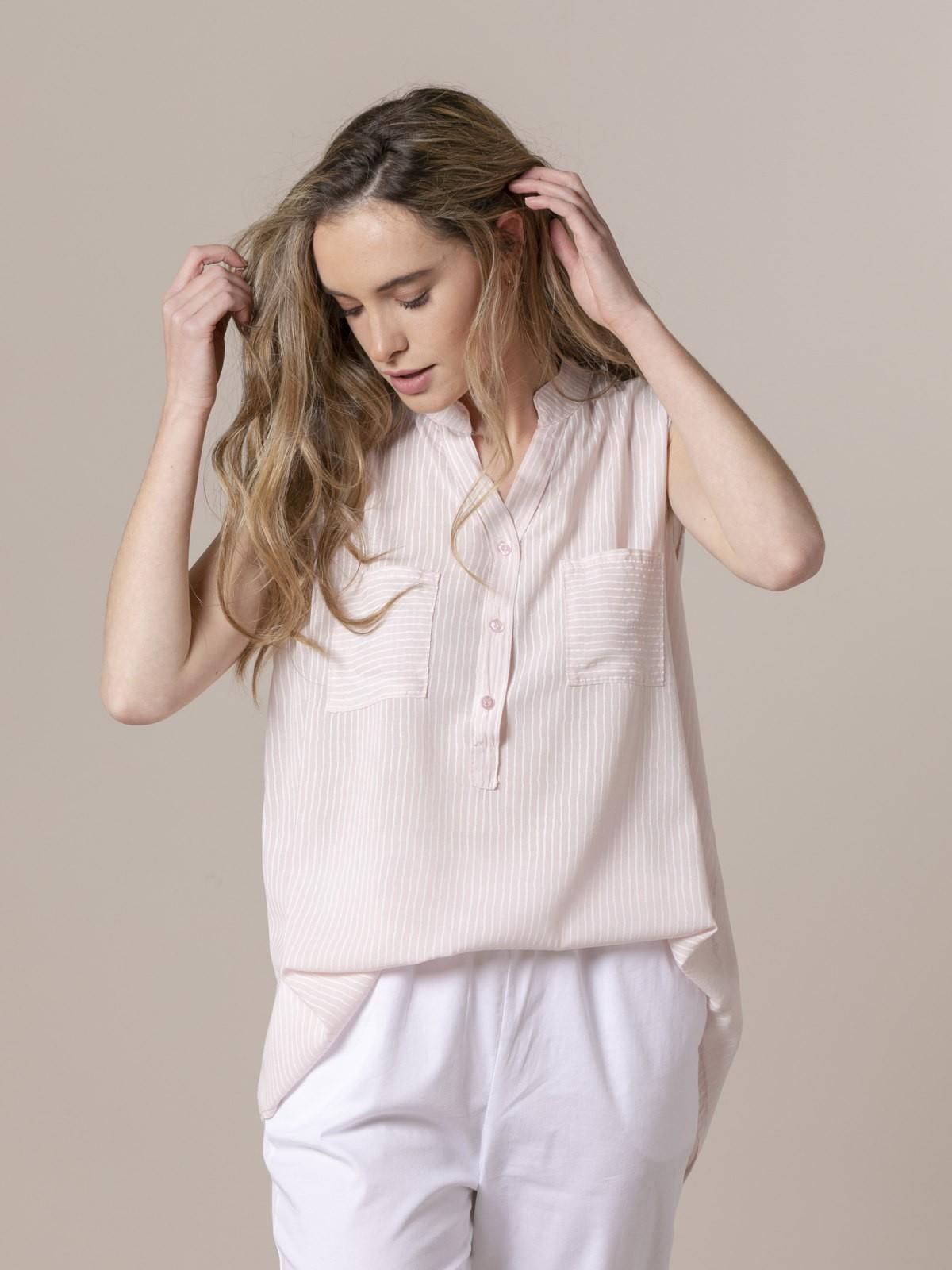 Woman Woman Striped sleeveless blouse Pink