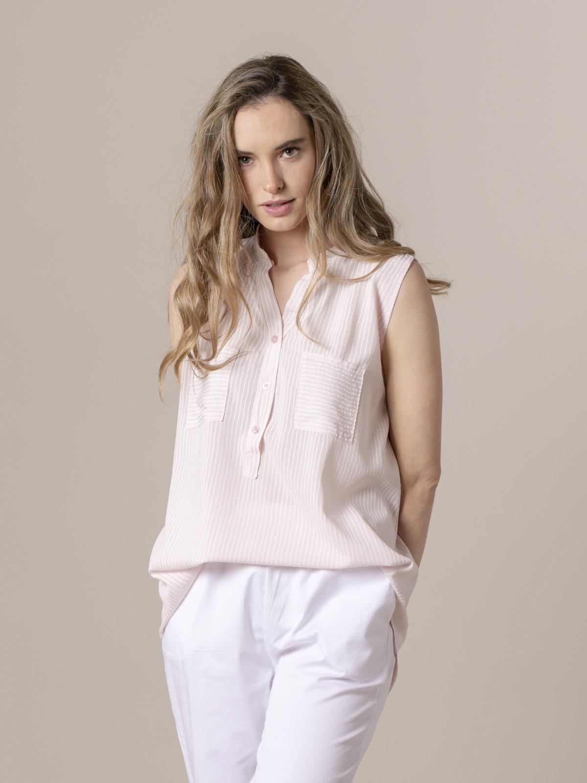 Blusa rayas mujer sin mangas Rosa