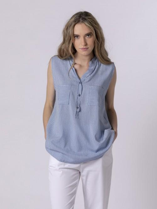 Blusa rayas mujer sin mangas Azul Jean