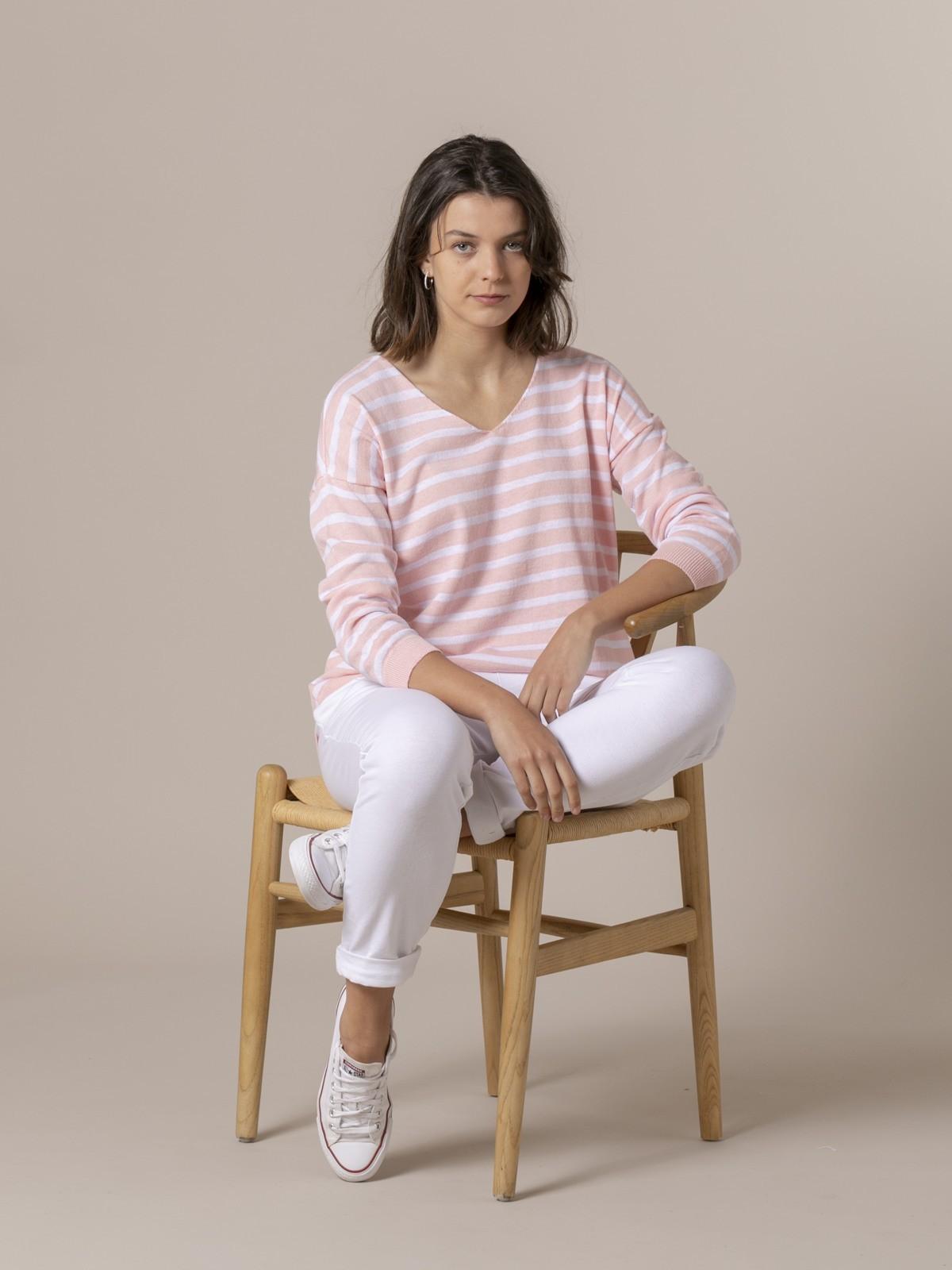 Jersey de punto mujer  fino de rayas Rosa