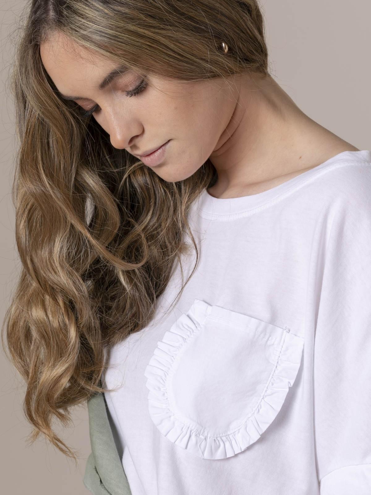 Camiseta mujer bolsillo especial Blanco