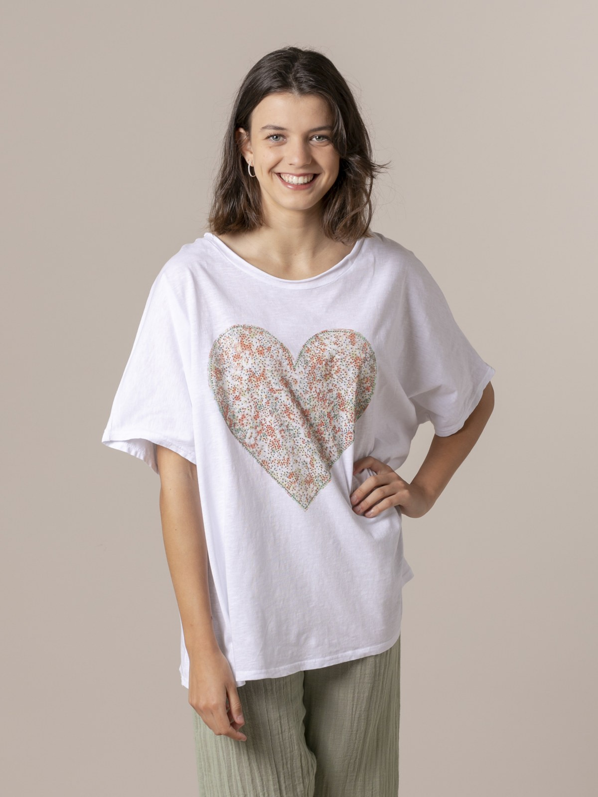 Camiseta mujer corazón Naranja