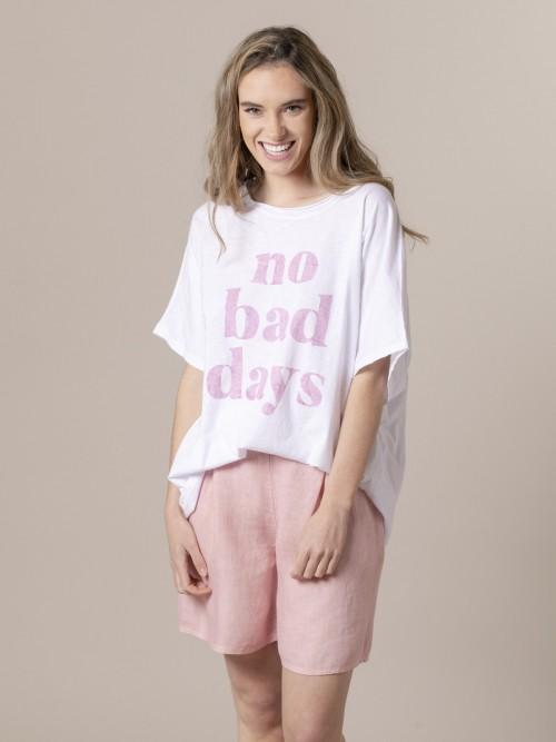 Woman No bad day t-shirt Pink