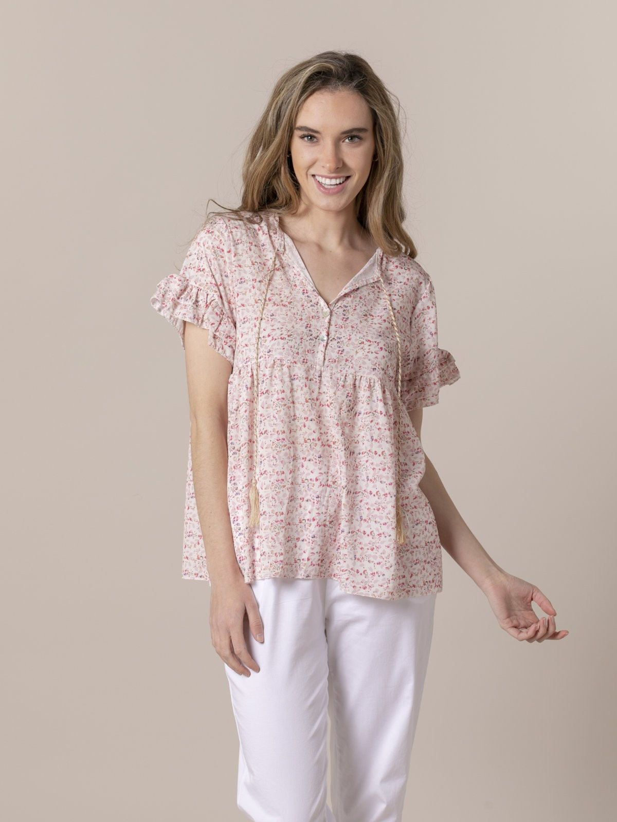 Woman Woman Printed blouse with ruffle Pink