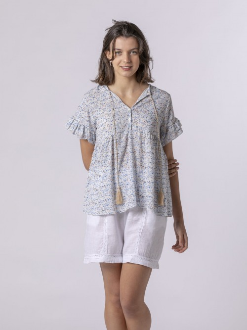 Woman Woman Printed blouse with ruffle Blue