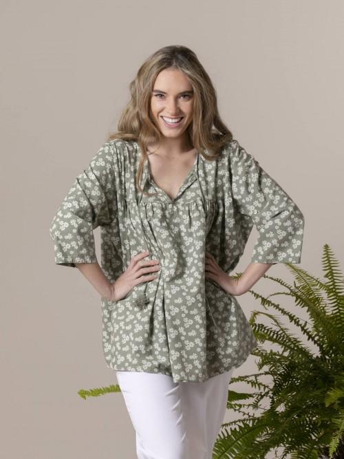 Woman Woman Printed lace blouse Khaki