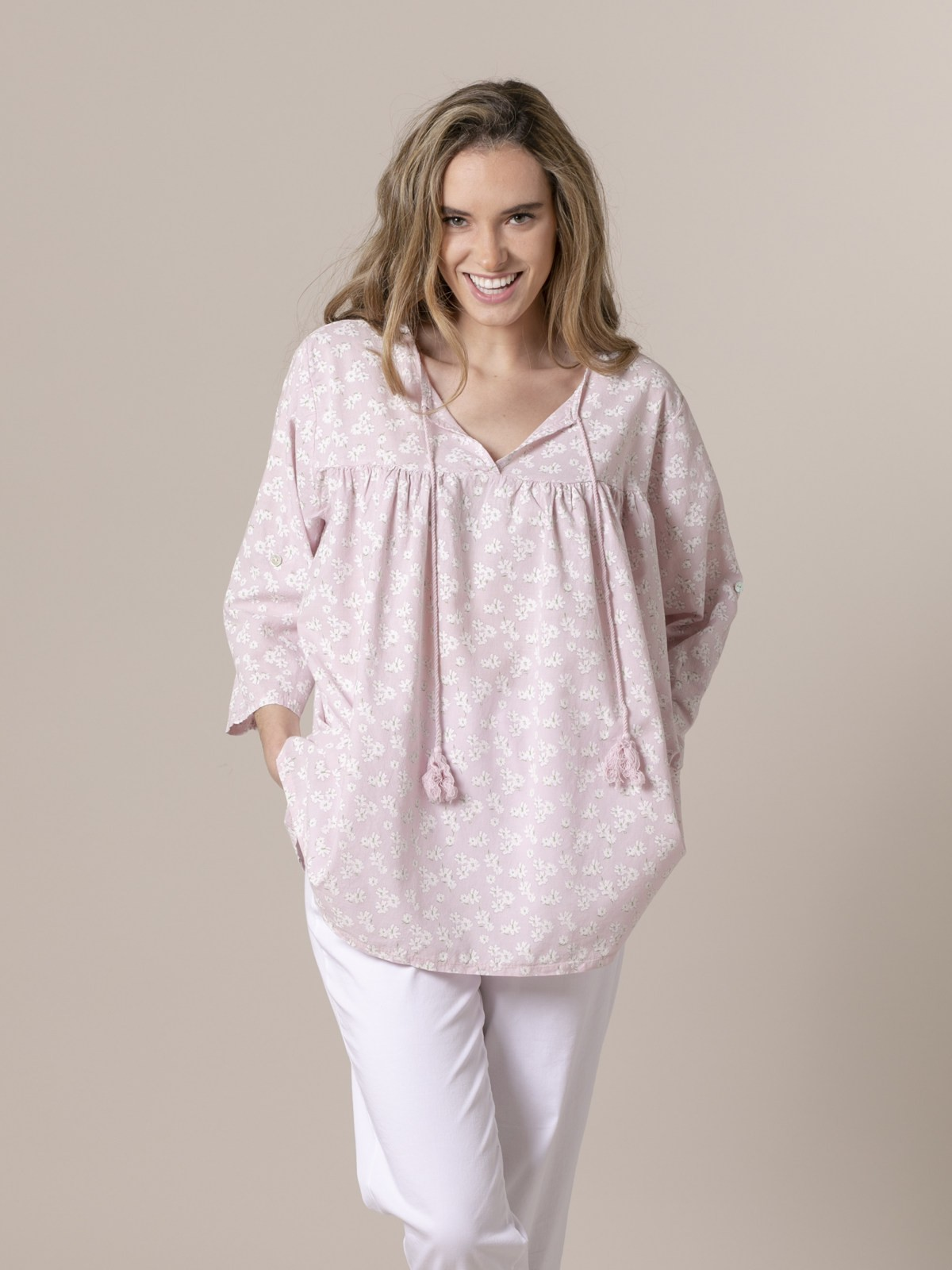 Woman Woman Printed lace blouse Pink
