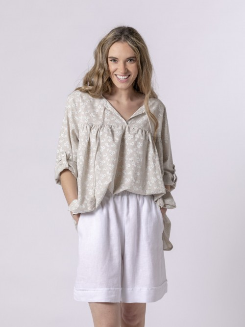 Woman Woman Printed lace blouse Beige