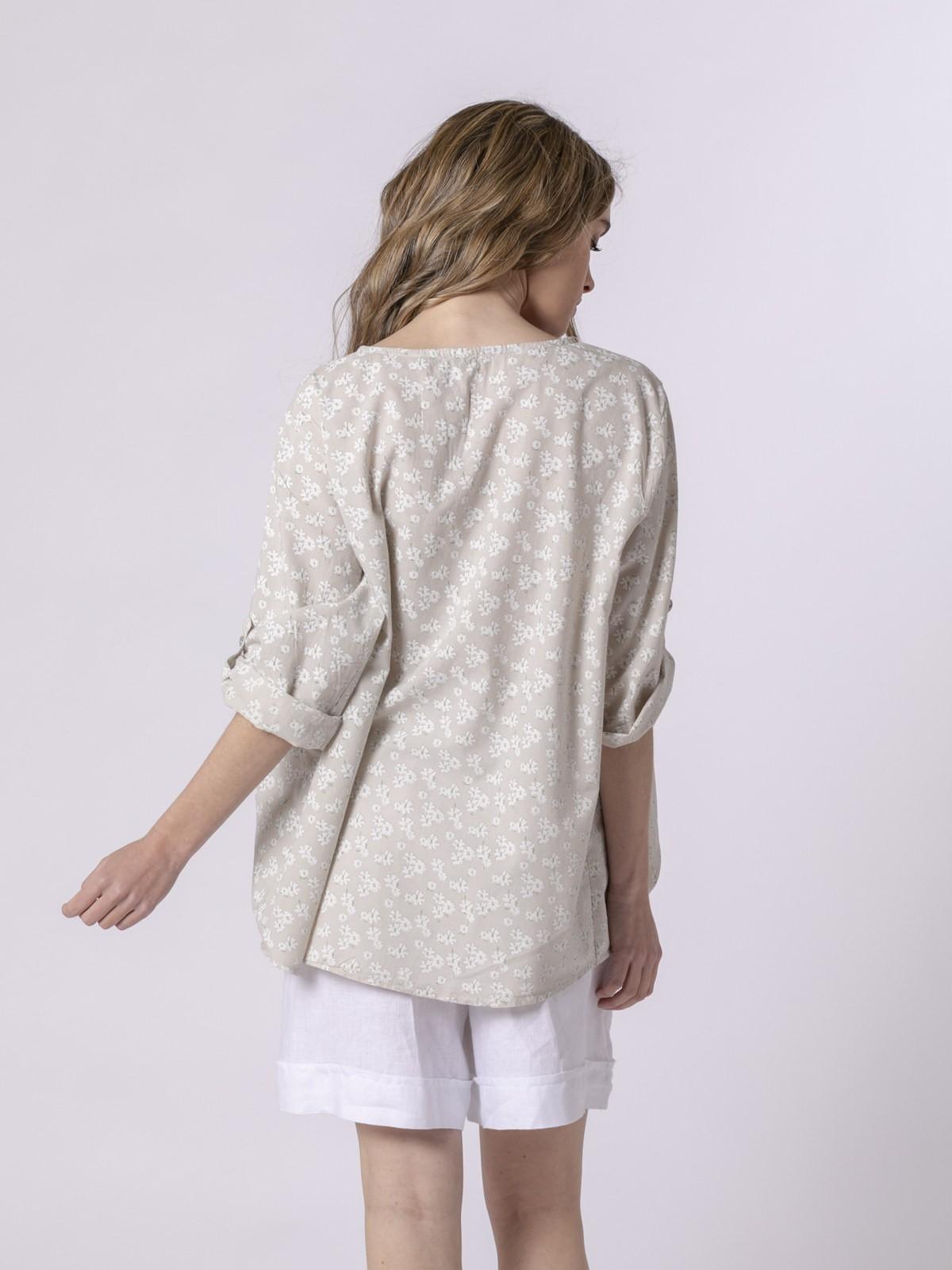 Woman Woman Printed lace blouse Beige