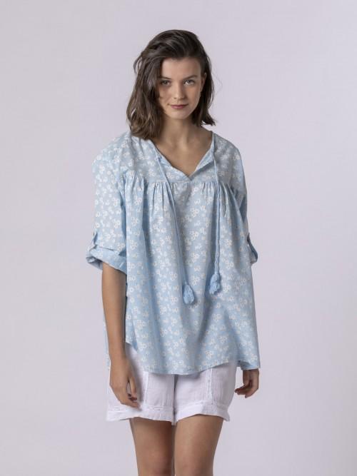 Blusa estampada cordón Azul