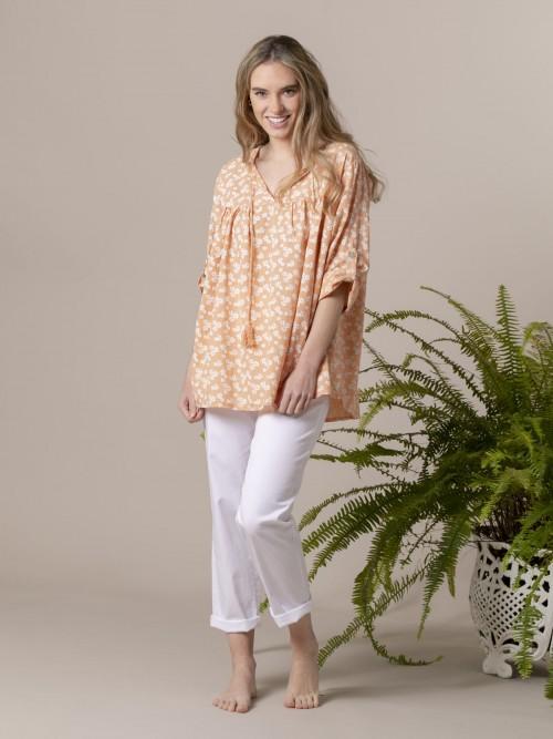 Blusa estampada cordón Naranja