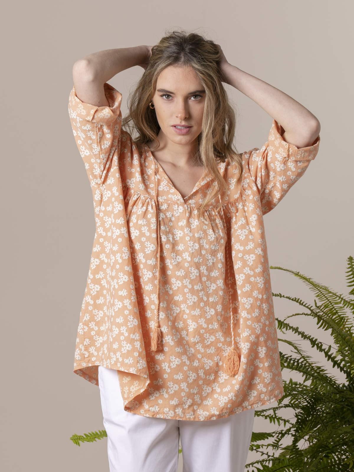 Woman Woman Printed lace blouse Orange