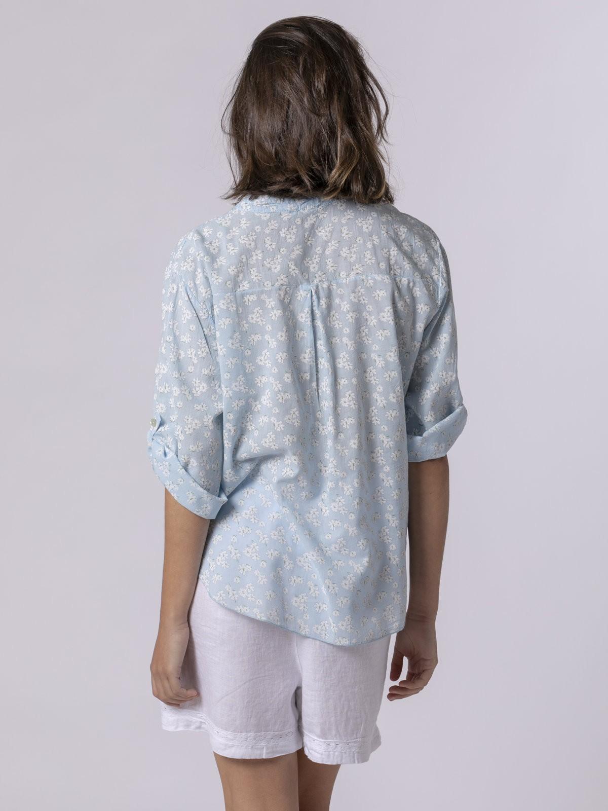Blusa mujer estampada bolsillos Azul
