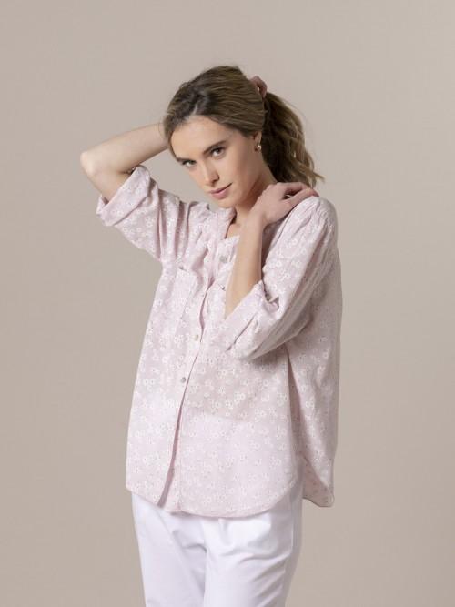 Blusa mujer estampada bolsillos Rosa