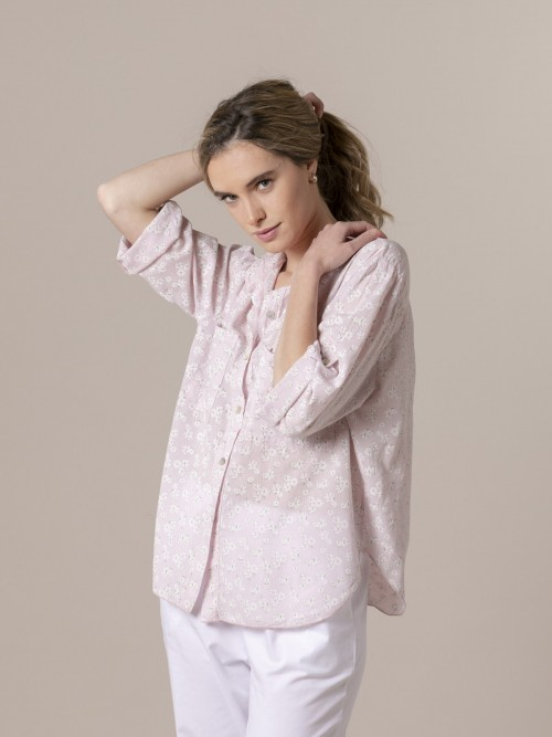 Woman Woman Printed blouse with pockets Pink
