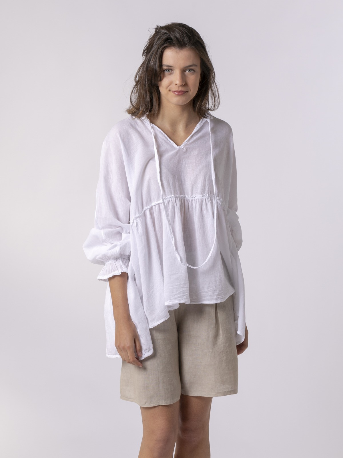 Camisa lisa mujer fluida Blanco