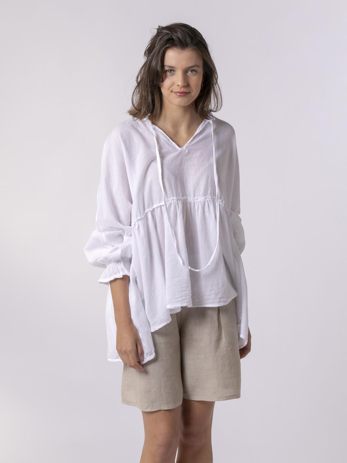 Woman Woman Plain fluid woman shirt White