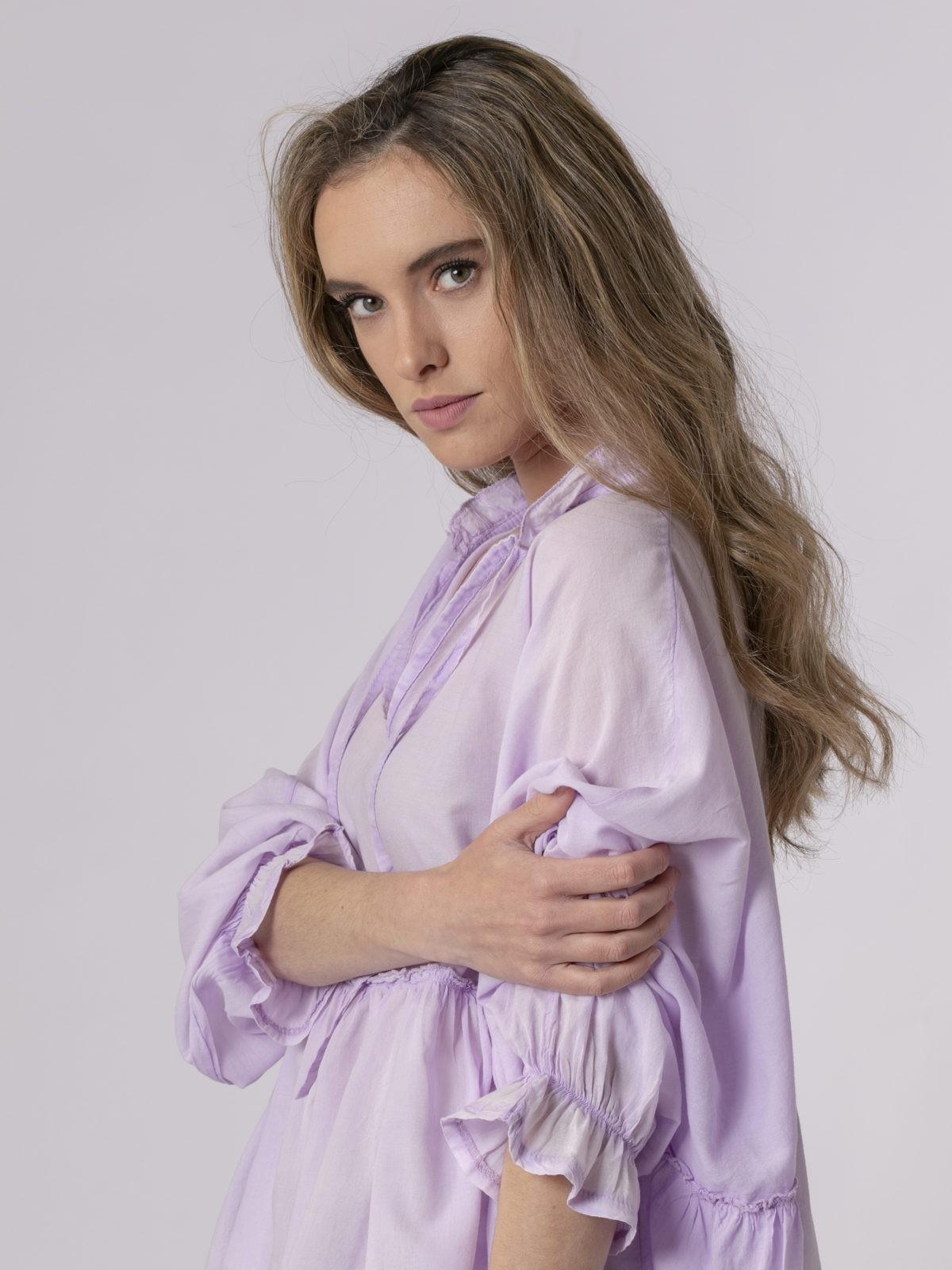 Camisa lisa mujer fluida Lila