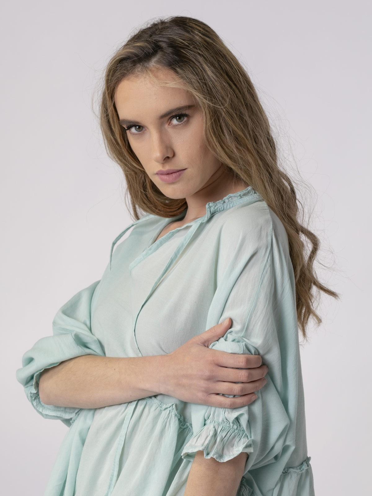 Camisa lisa mujer fluida Aqua