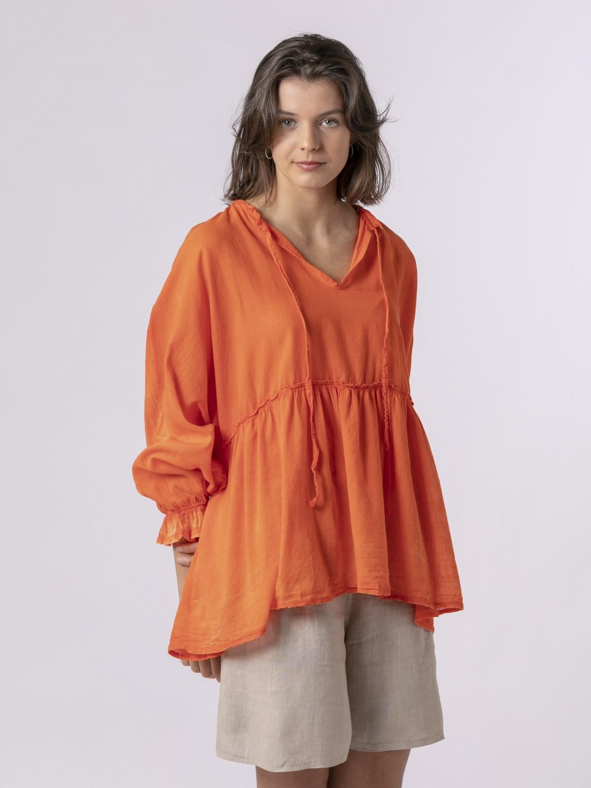 Camisa lisa mujer fluida Naranja