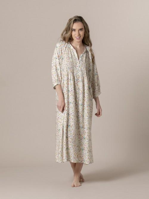 Woman Flowy printed dress Beige