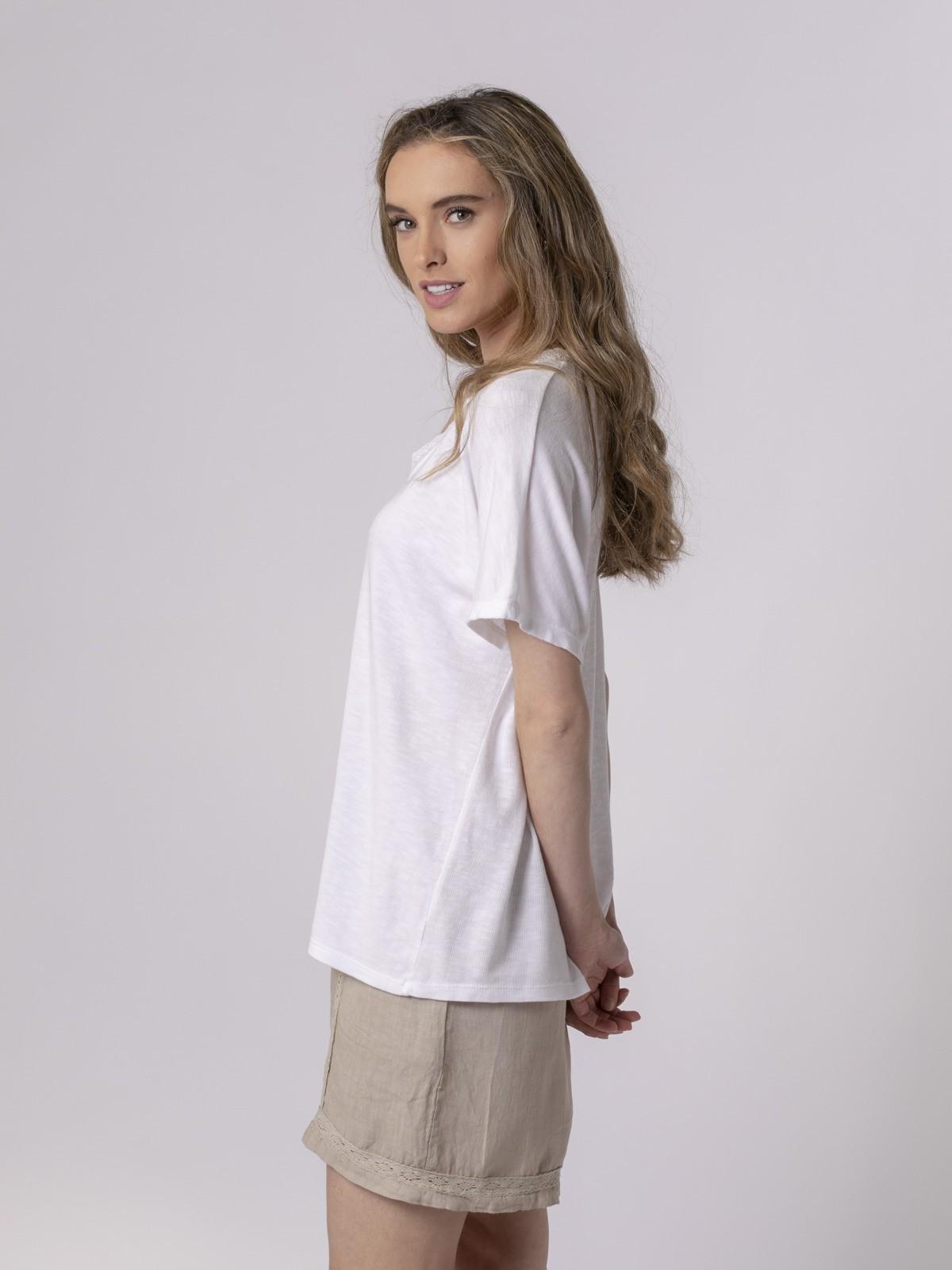 Camiseta mujer puntilla Blanco