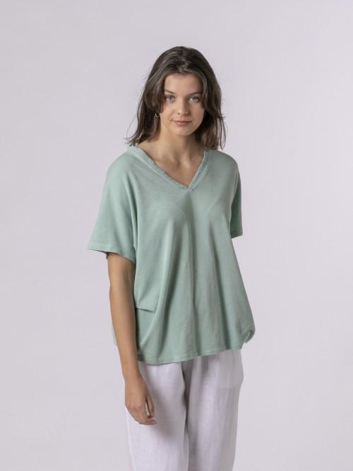 Woman Woman Lace T-shirt Aqua