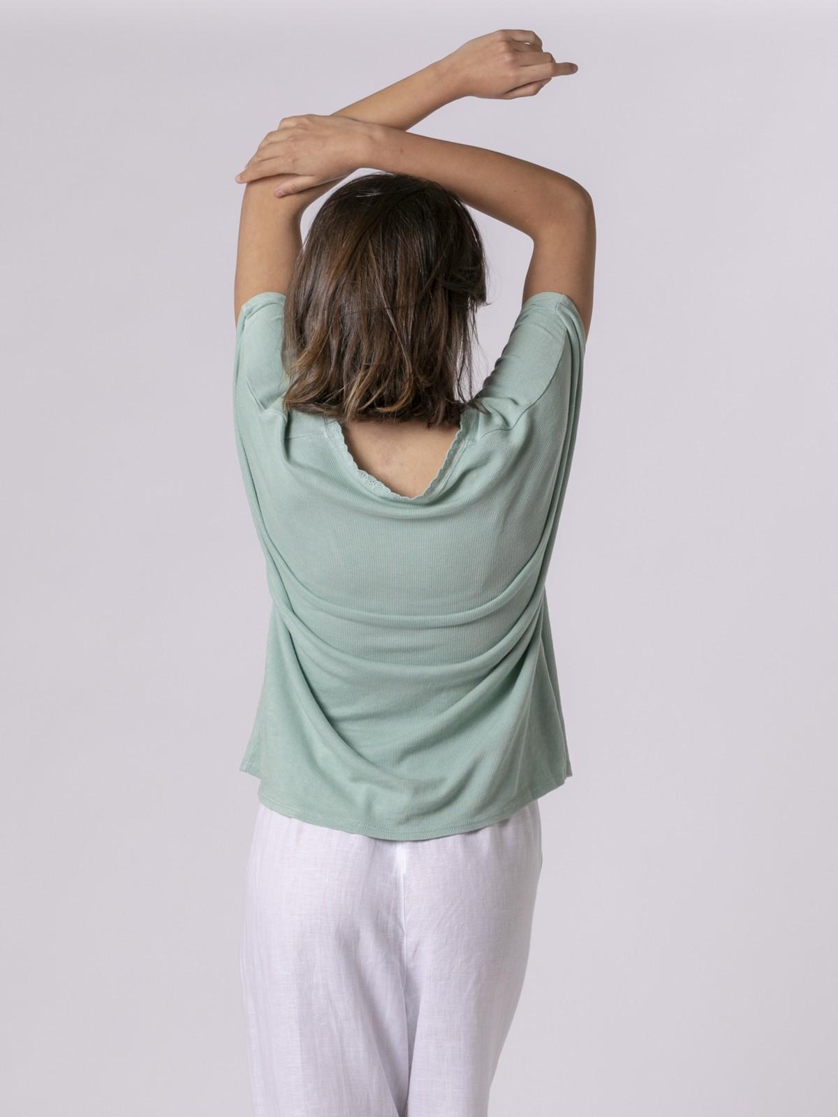 Camiseta mujer puntilla Aqua